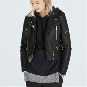 Zara Moto Black Faux Leather Jacket Sz L